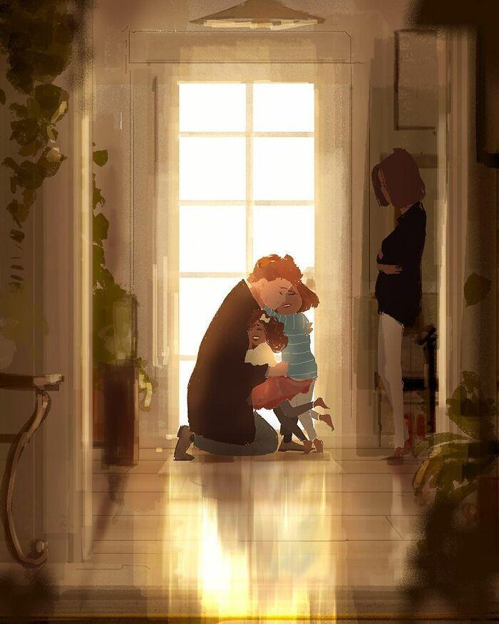 Marido retrata a vida cotidiana com sua esposa e filhos em 54 novas ilustrações comoventes 20