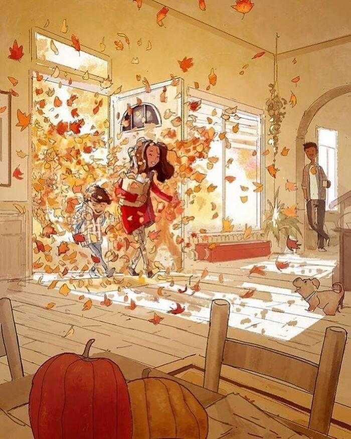 Marido retrata a vida cotidiana com sua esposa e filhos em 54 novas ilustrações comoventes 21