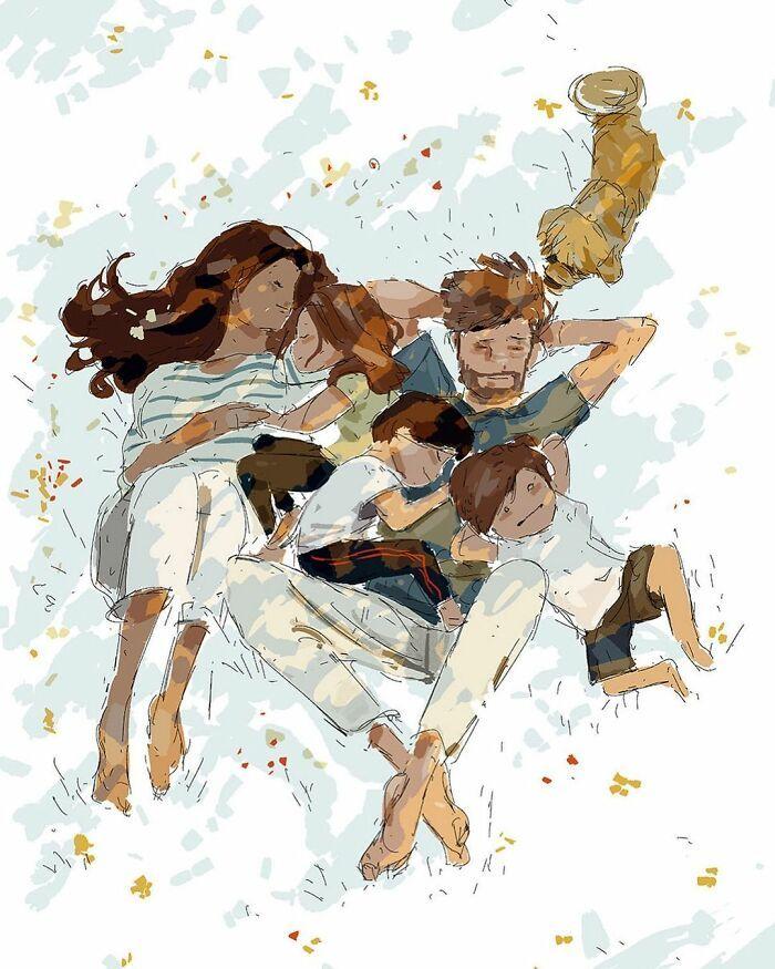 Marido retrata a vida cotidiana com sua esposa e filhos em 54 novas ilustrações comoventes 22