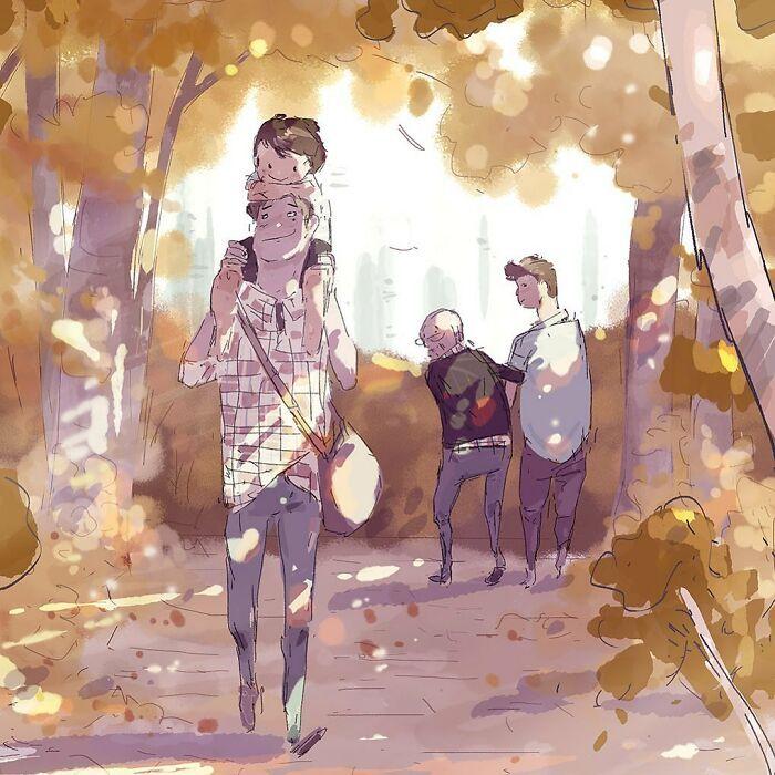 Marido retrata a vida cotidiana com sua esposa e filhos em 54 novas ilustrações comoventes 24