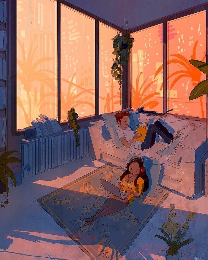 Marido retrata a vida cotidiana com sua esposa e filhos em 54 novas ilustrações comoventes 27