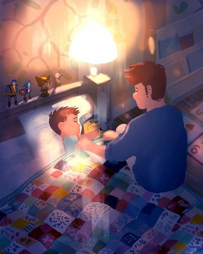 Marido retrata a vida cotidiana com sua esposa e filhos em 54 novas ilustrações comoventes 30