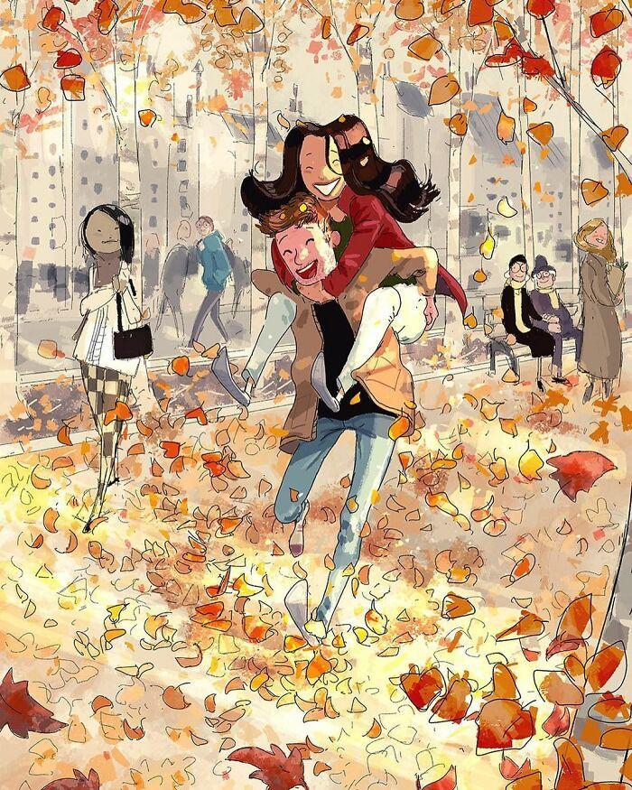 Marido retrata a vida cotidiana com sua esposa e filhos em 54 novas ilustrações comoventes 31