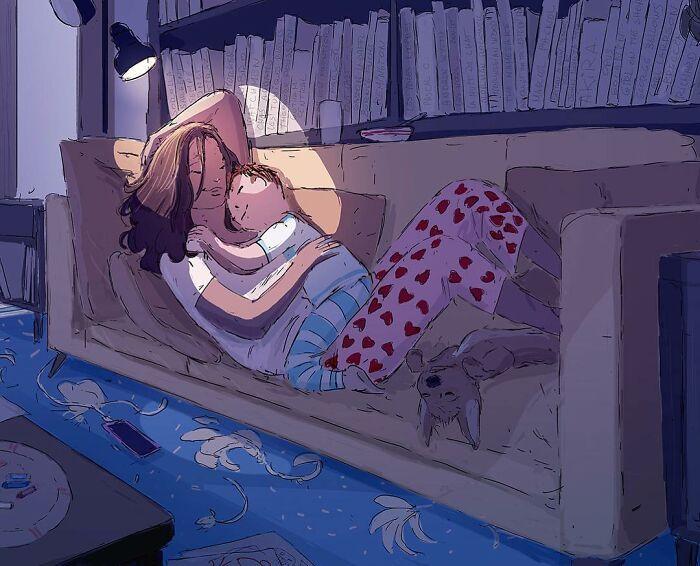 Marido retrata a vida cotidiana com sua esposa e filhos em 54 novas ilustrações comoventes 36