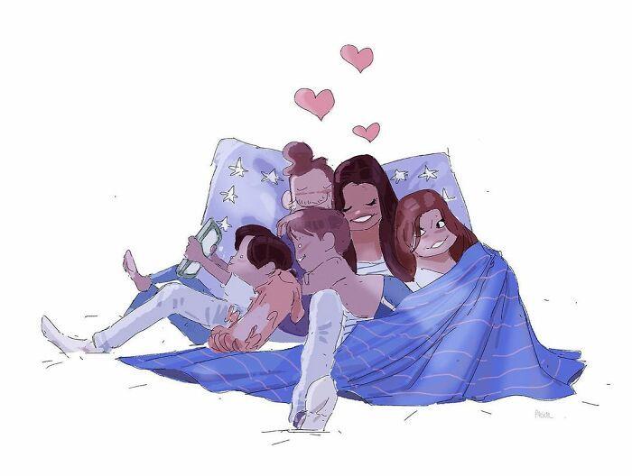 Marido retrata a vida cotidiana com sua esposa e filhos em 54 novas ilustrações comoventes 38