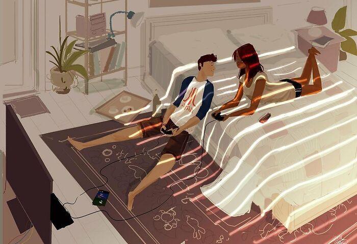 Marido retrata a vida cotidiana com sua esposa e filhos em 54 novas ilustrações comoventes 44
