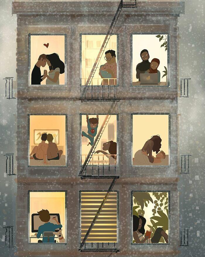 Marido retrata a vida cotidiana com sua esposa e filhos em 54 novas ilustrações comoventes 46