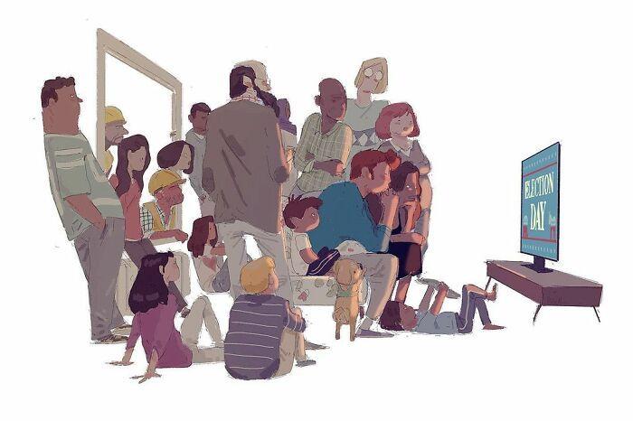 Marido retrata a vida cotidiana com sua esposa e filhos em 54 novas ilustrações comoventes 49