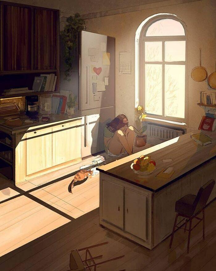Marido retrata a vida cotidiana com sua esposa e filhos em 54 novas ilustrações comoventes 50