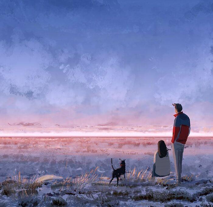 Marido retrata a vida cotidiana com sua esposa e filhos em 54 novas ilustrações comoventes 53