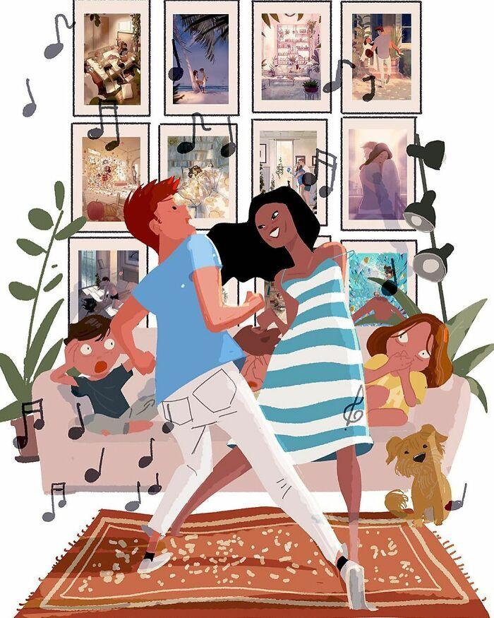 Marido retrata a vida cotidiana com sua esposa e filhos em 54 novas ilustrações comoventes 54