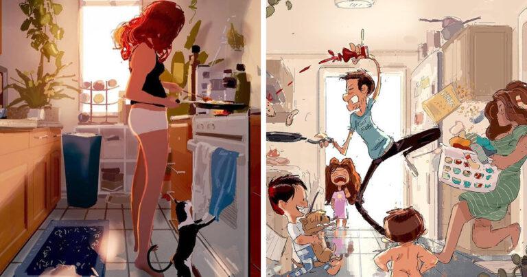 Marido retrata a vida cotidiana com sua esposa e filhos em 54 novas ilustrações comoventes 1