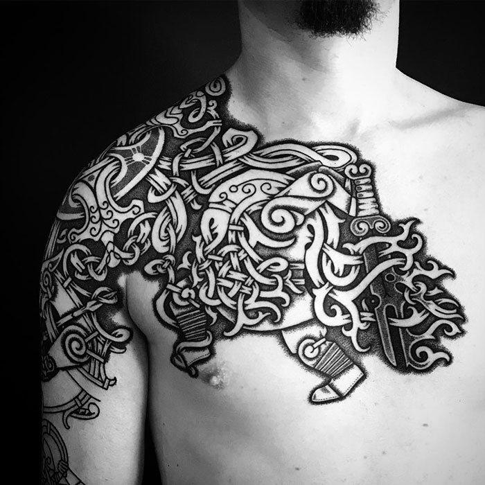 52 melhores tatuagem Viking e Nórdica para você se inspirar 29