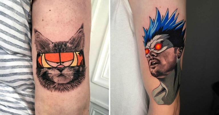 46 tatuagens de personagens populares misturadas em dois estilos diferentes 1