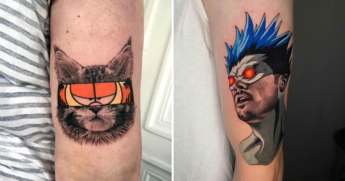 46 tatuagens de personagens populares misturadas em dois estilos diferentes 2