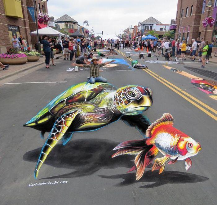 Um artista ilumina ruas com sua arte em 3D, tão mágica que vai fazer você questionar a realidade 3