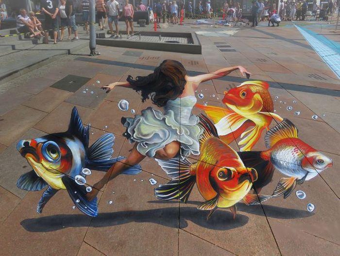 Um artista ilumina ruas com sua arte em 3D, tão mágica que vai fazer você questionar a realidade 6
