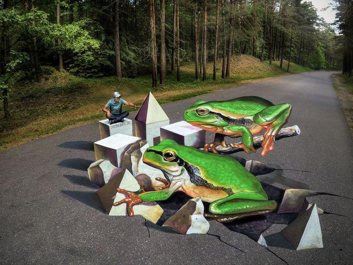 Um artista ilumina ruas com sua arte em 3D, tão mágica que vai fazer você questionar a realidade 14