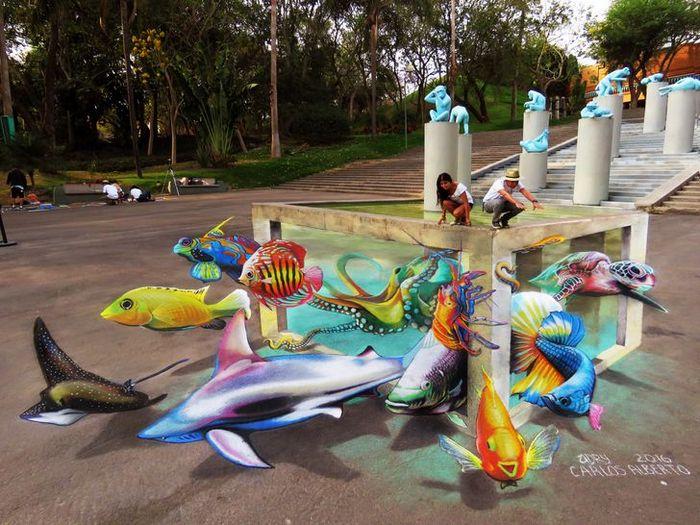 Um artista ilumina ruas com sua arte em 3D, tão mágica que vai fazer você questionar a realidade 18