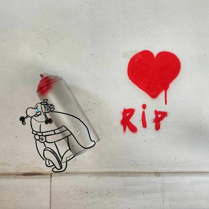 Artista francês cria arte humorística nas ruas de Paris 12