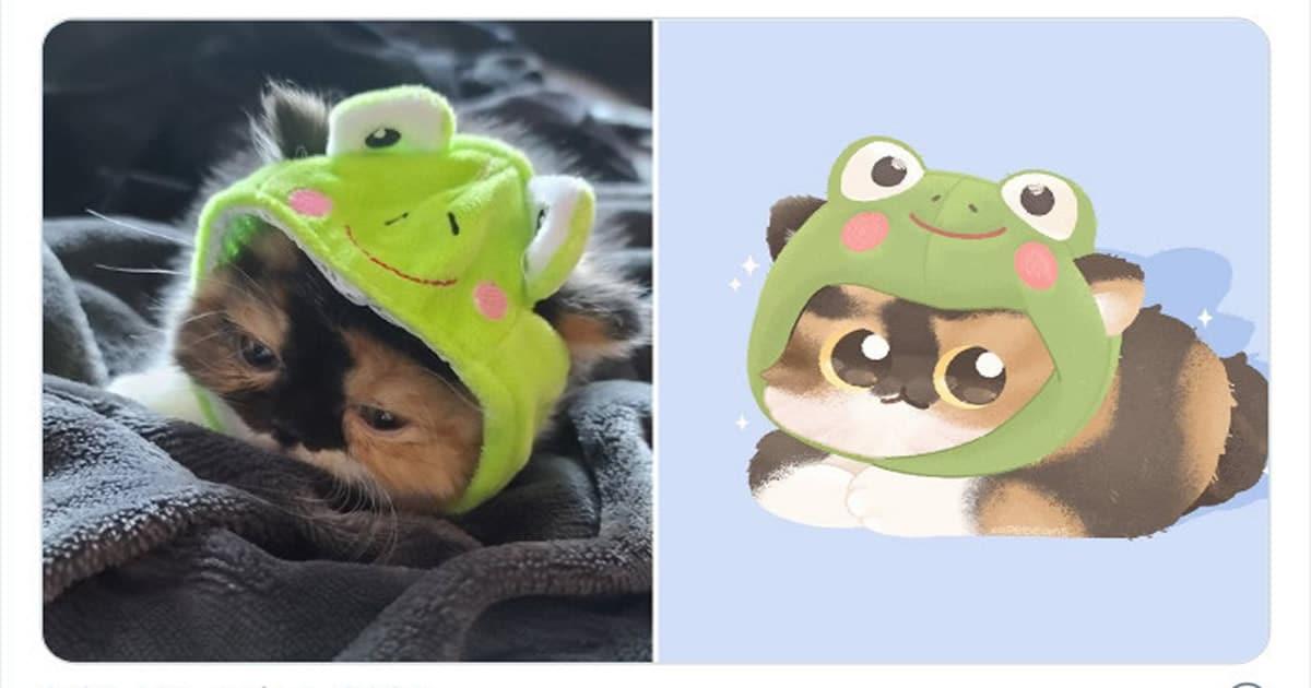 Bib transforma fotos engraçadas de animais em desenhos fofos 34