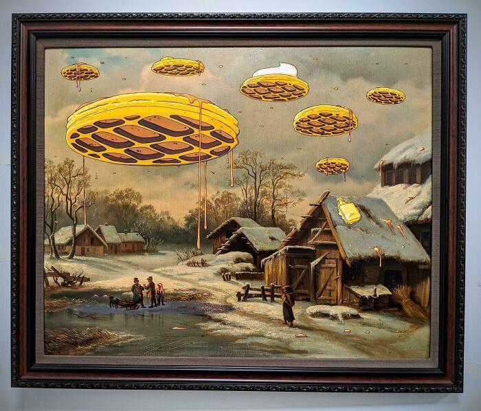 34 vezes que artistas repintou pinturas de brechós com seus pincéis 9