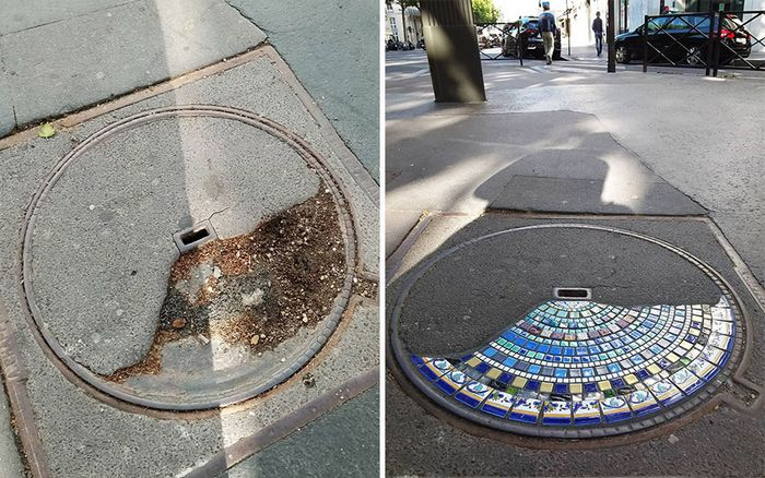Artista conserta calçadas, buracos e edifícios rachados usando mosaicos vibrantes (30 fotos) 4