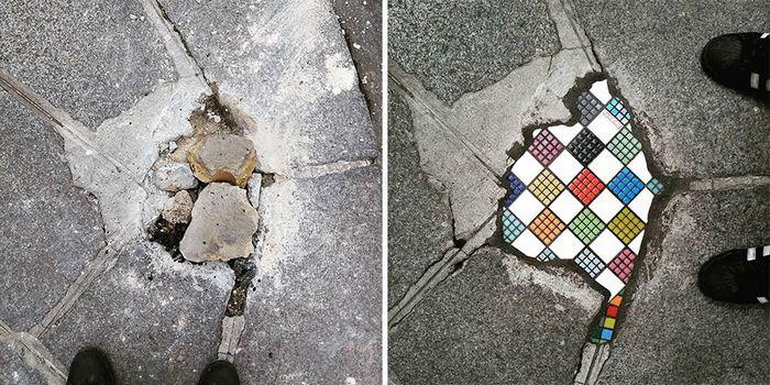 Artista conserta calçadas, buracos e edifícios rachados usando mosaicos vibrantes (30 fotos) 5