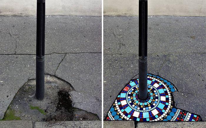 Artista conserta calçadas, buracos e edifícios rachados usando mosaicos vibrantes (30 fotos) 7