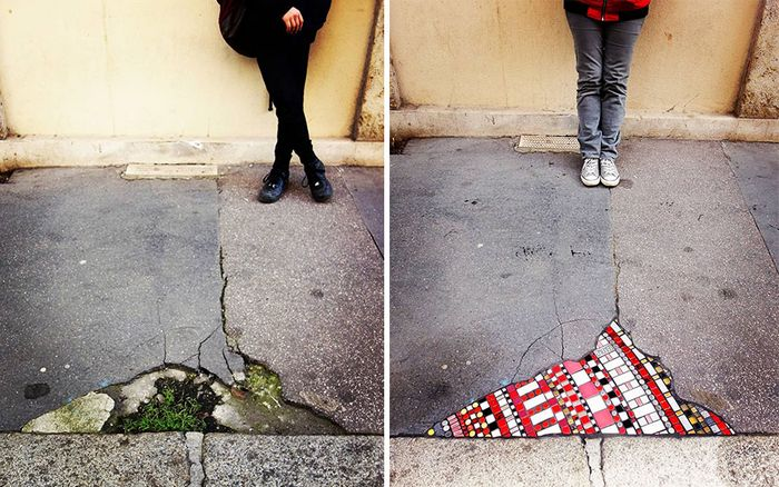 Artista conserta calçadas, buracos e edifícios rachados usando mosaicos vibrantes (30 fotos) 8