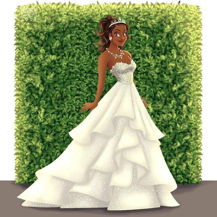 Artista cria vestidos de noiva modernos para princesas da Disney 5