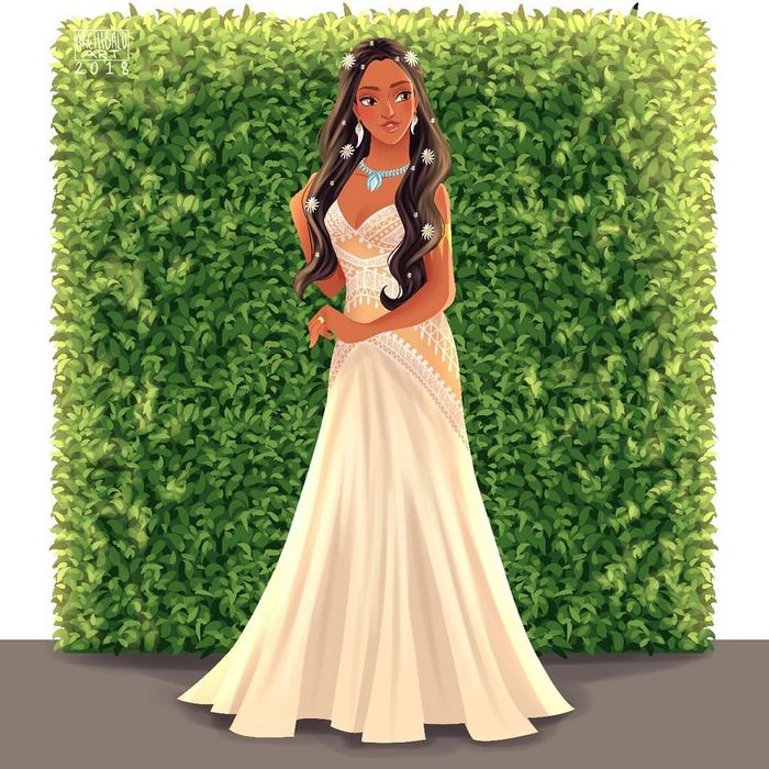 Artista cria vestidos de noiva modernos para princesas da Disney 6