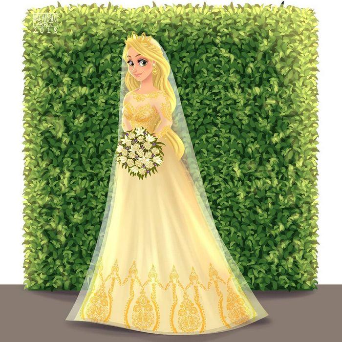 Artista cria vestidos de noiva modernos para princesas da Disney 11