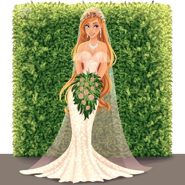 Artista cria vestidos de noiva modernos para princesas da Disney 12