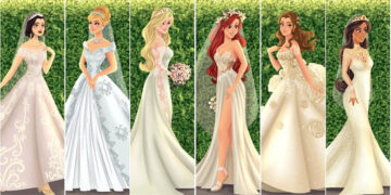 Artista cria vestidos de noiva modernos para princesas da Disney 4
