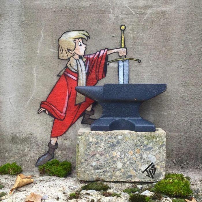 Artista criar grafites que interagem com os arredores (30 fotos) 26