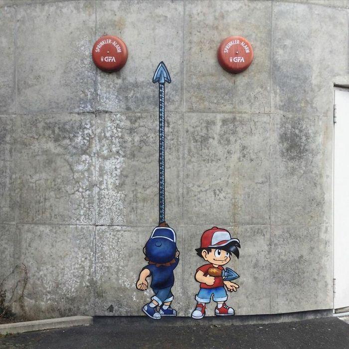 Artista criar grafites que interagem com os arredores (30 fotos) 32