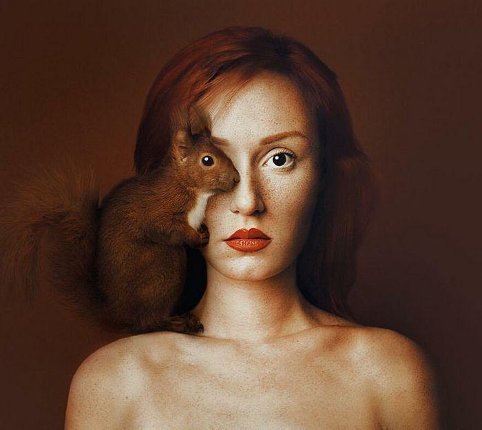 Artista húngara compartilha os olhos dos animais em sua série de auto-retratos (19 fotos) 17