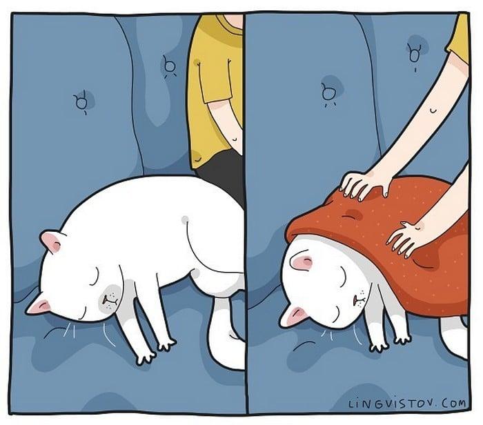 Artista ilustra momentos hilariantes na vida de cada proprietário de gato (35 fotos) 3