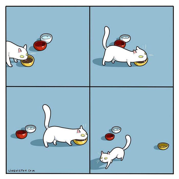 Artista ilustra momentos hilariantes na vida de cada proprietário de gato (35 fotos) 6