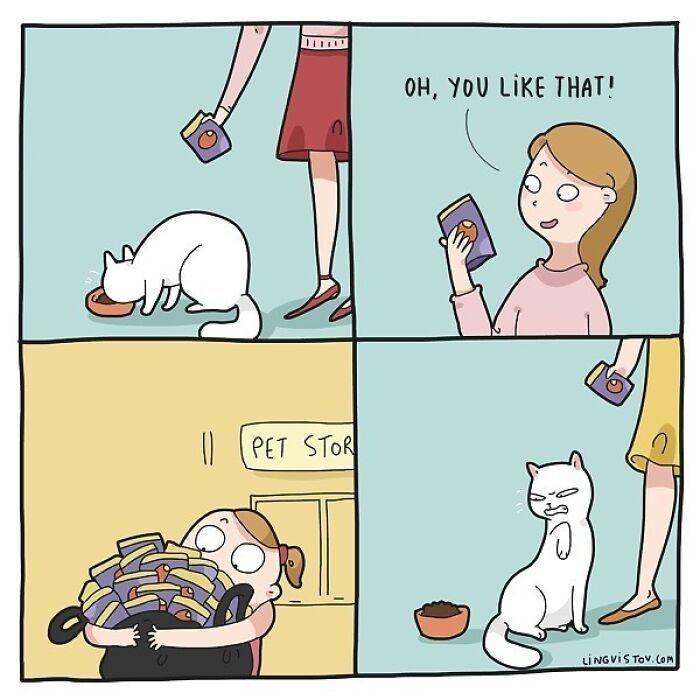 Artista ilustra momentos hilariantes na vida de cada proprietário de gato (35 fotos) 24
