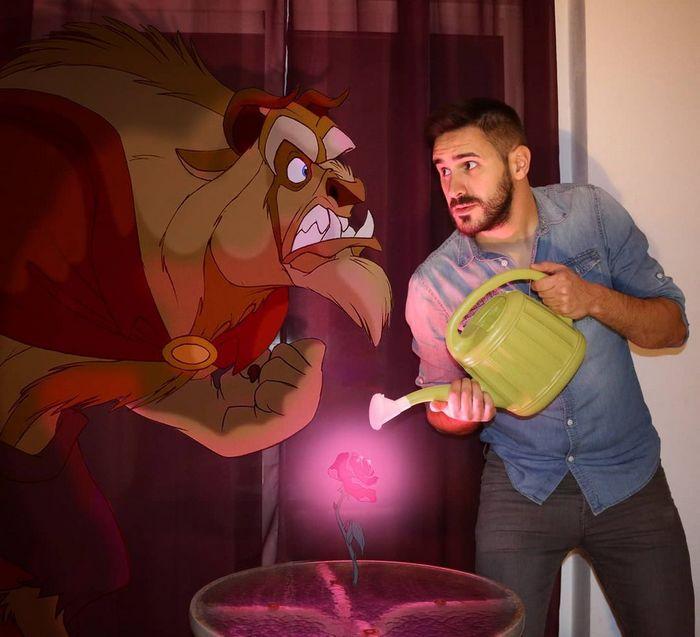 22 fotos de um professor que faz montagens com personagens da Disney, para ver como seria viver com eles 5