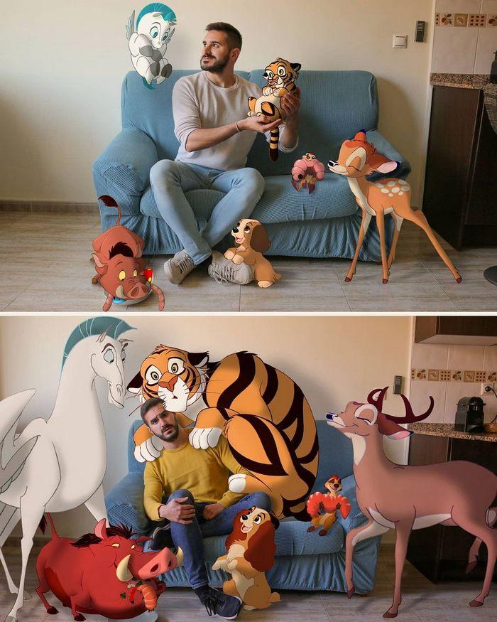 22 fotos de um professor que faz montagens com personagens da Disney, para ver como seria viver com eles 14