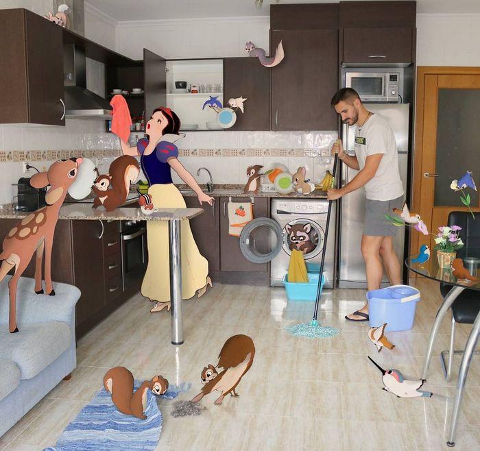 22 fotos de um professor que faz montagens com personagens da Disney, para ver como seria viver com eles 17