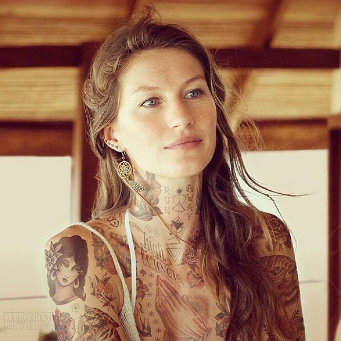 Qual seria a aparência de 48 celebridades se tivessem tatuagens legais 8