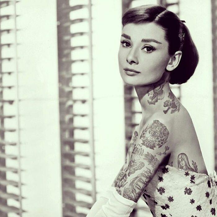 Qual seria a aparência de 48 celebridades se tivessem tatuagens legais 10