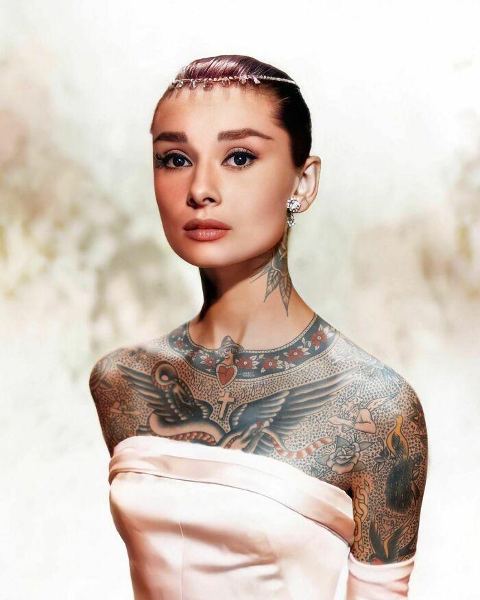 Qual seria a aparência de 48 celebridades se tivessem tatuagens legais 48