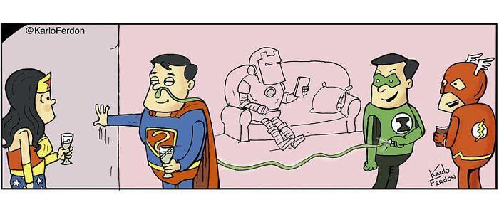 Artista mostra o que os super-heróis estão fazendo em seu tempo livre (30 fotos) 24