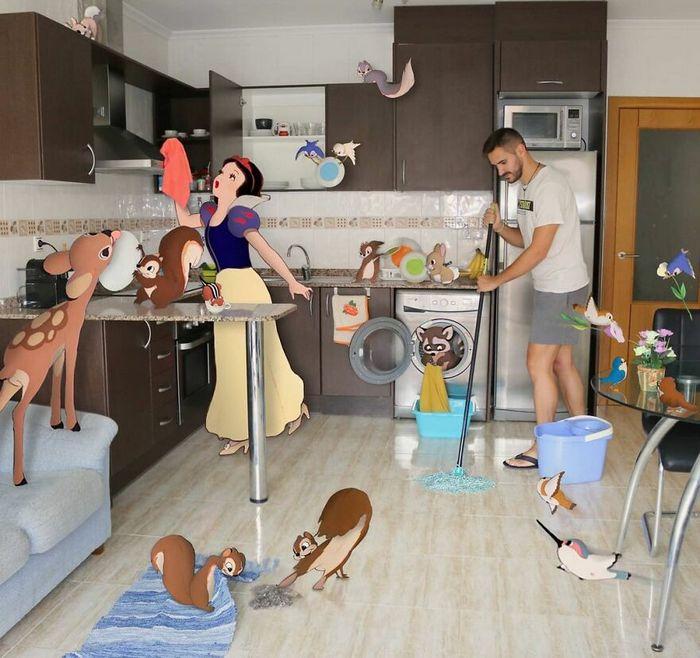 Artista recria situações do dia a dia com personagens da Disney e o resultado é incrível (35 fotos) 23