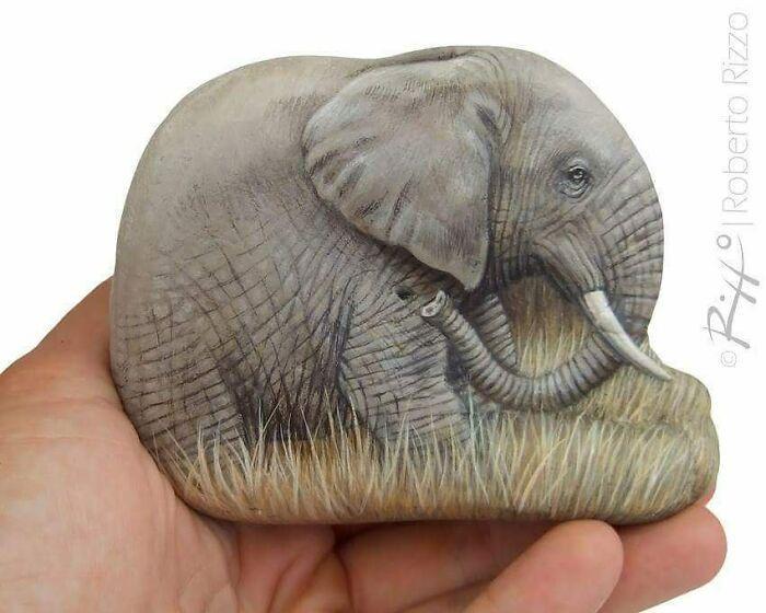 Artista transforma pedras em pinturas incríveis de animais (30 fotos) 21